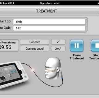 Dysphagia treatment system Medical device user interface screen