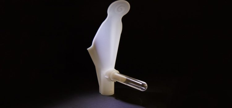 A picture of the Peezy Midstream urine specimen collection device